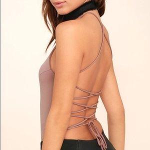 Lulu's Mauve Lace-Up Bodysuit Top Size Large NWT